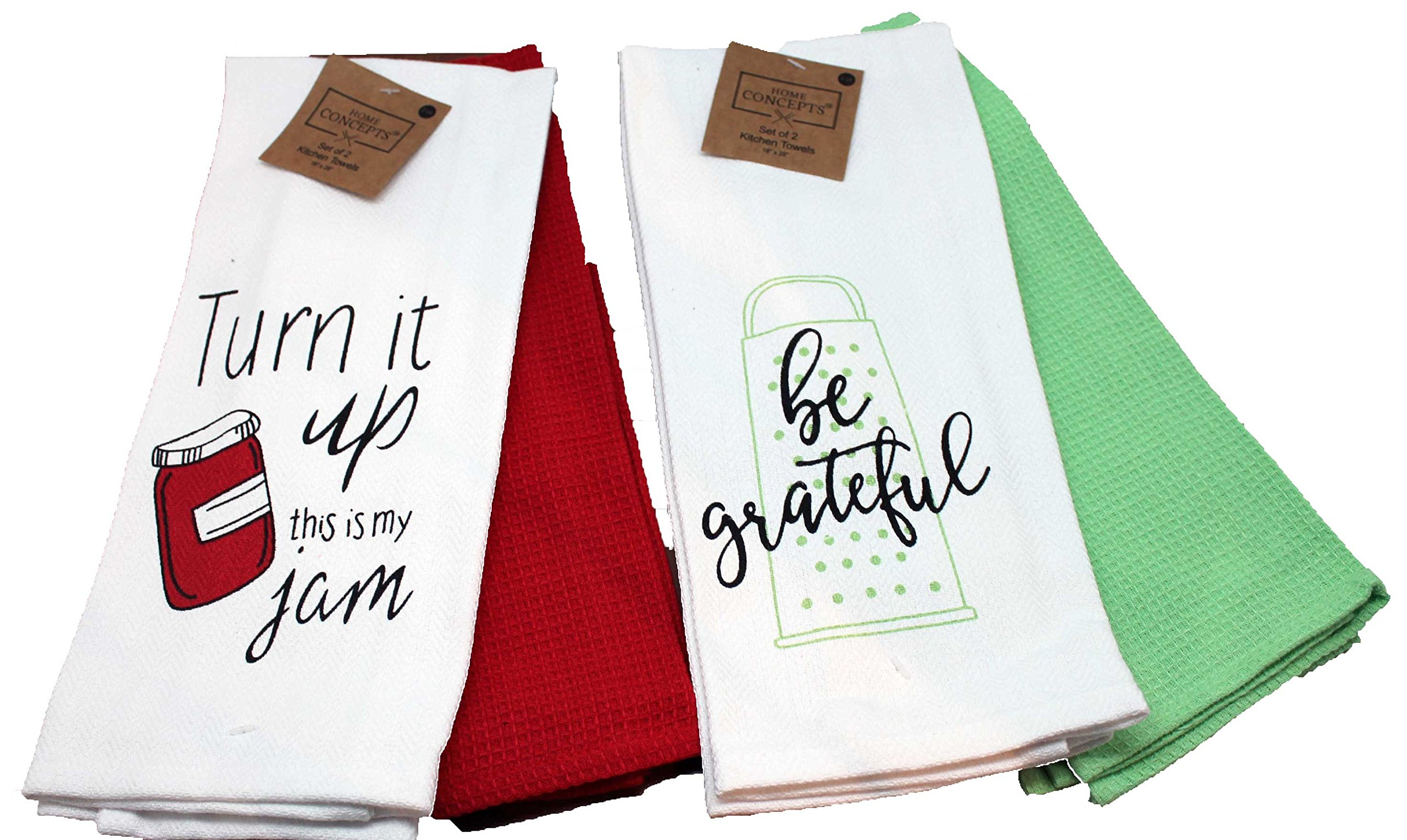 Twisted Anchor Trading Co Set of 4 Funny Kitchen Towels - Baking and Cooking Related Kitchen Towels Gift Set - Comes in Organza Gift Bag