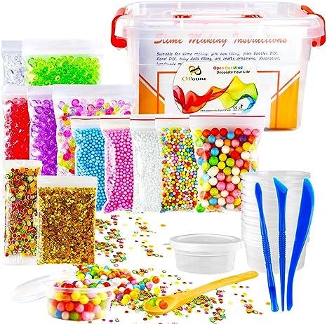 opount 15 unidades Slime Making Kit incluyendo pecera abalorios, Contenedores de almacenamiento de pelotas de espuma,