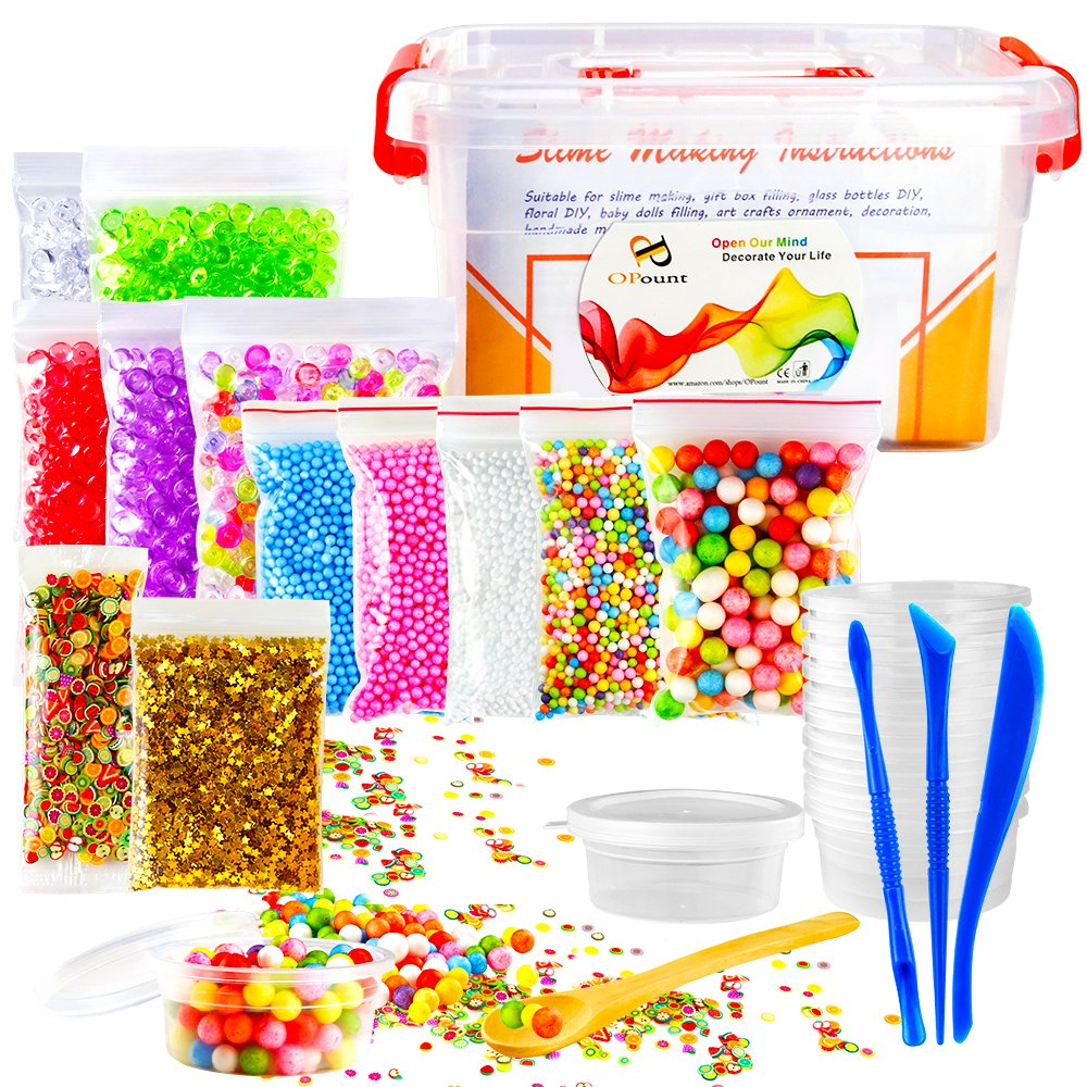 OPount 29 Pack Making Kit Supplies for Slime Including Fishbowl Beads, Foam Balls, Foam Ball Storage Containers, Confetti, Fruit Slices and Instructions for Slime Making Arts Craft(Not Contain Slime) PP OPOUNT OP-0117