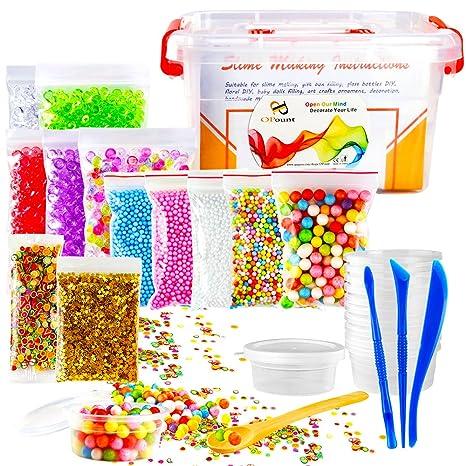 opount 15 unidades Slime Making Kit incluyendo pecera abalorios, Contenedores de almacenamiento de pelotas de espuma, ...