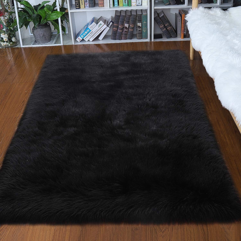 junovo Luxury Fluffy Area Rugs Furry Rug for Bedroom Faux Fur Sheepskin Nursery Rugs Fur Carpet for Kids Room Living Room Home Decor Floor Mat, 4ft x 6ft Black