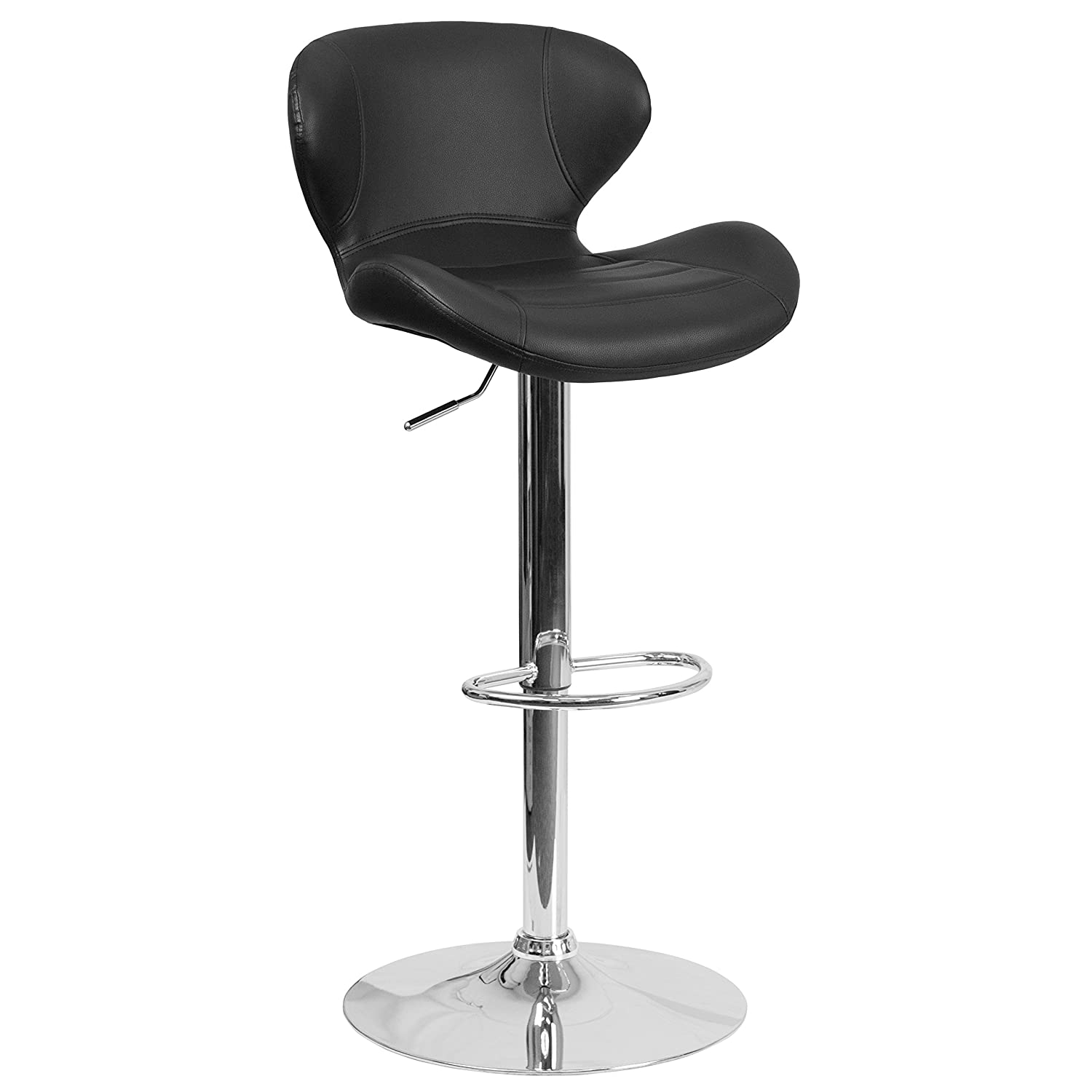 Flash Furniture Contemporary Black Vinyl Adjustable Height Barstool with Curved Back and Chrome Base