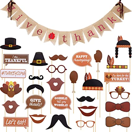 Boao Thanksgiving Banner Give Thanks Burlap Bunting Banner And 29 Pieces Assorted Photo Booth Props For