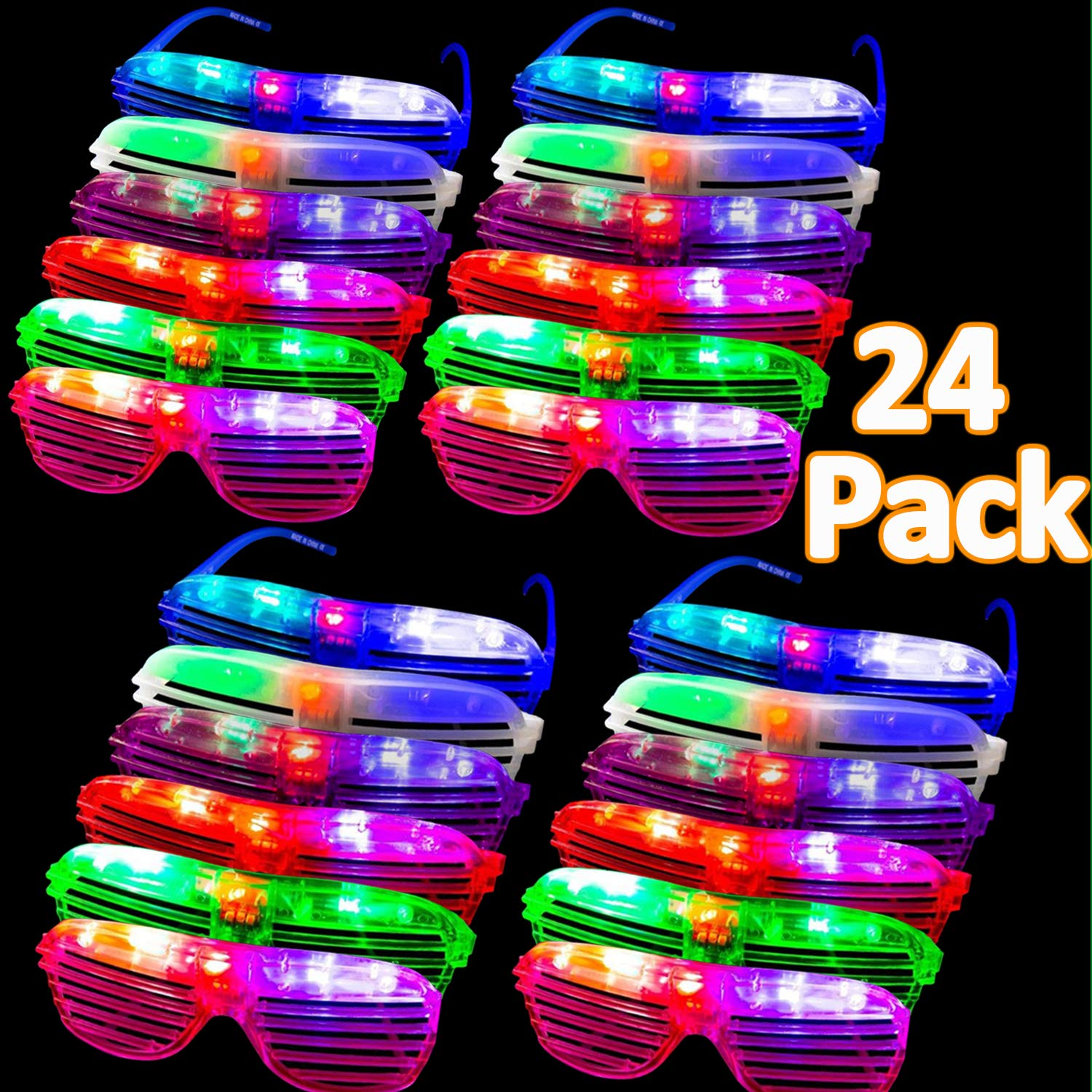Randosk 24 Pack LED Glasses Glow in The Dark Party Favors Supplies for Kids Light Up Toy Bulk with Flash Light 3 Replaceable Battery for Mother's Day Birthday Holiday Outdoor Party