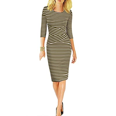 REPHYLLIS Women 3/4 Sleeve Striped Wear to Work Business Cocktail Pencil Dress at Women's Clothing store
