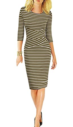 b68d647ef6 REPHYLLIS Women 3/4 Sleeve Striped Wear to Work Business Cocktail Party Pencil  Dress ArmyGreen