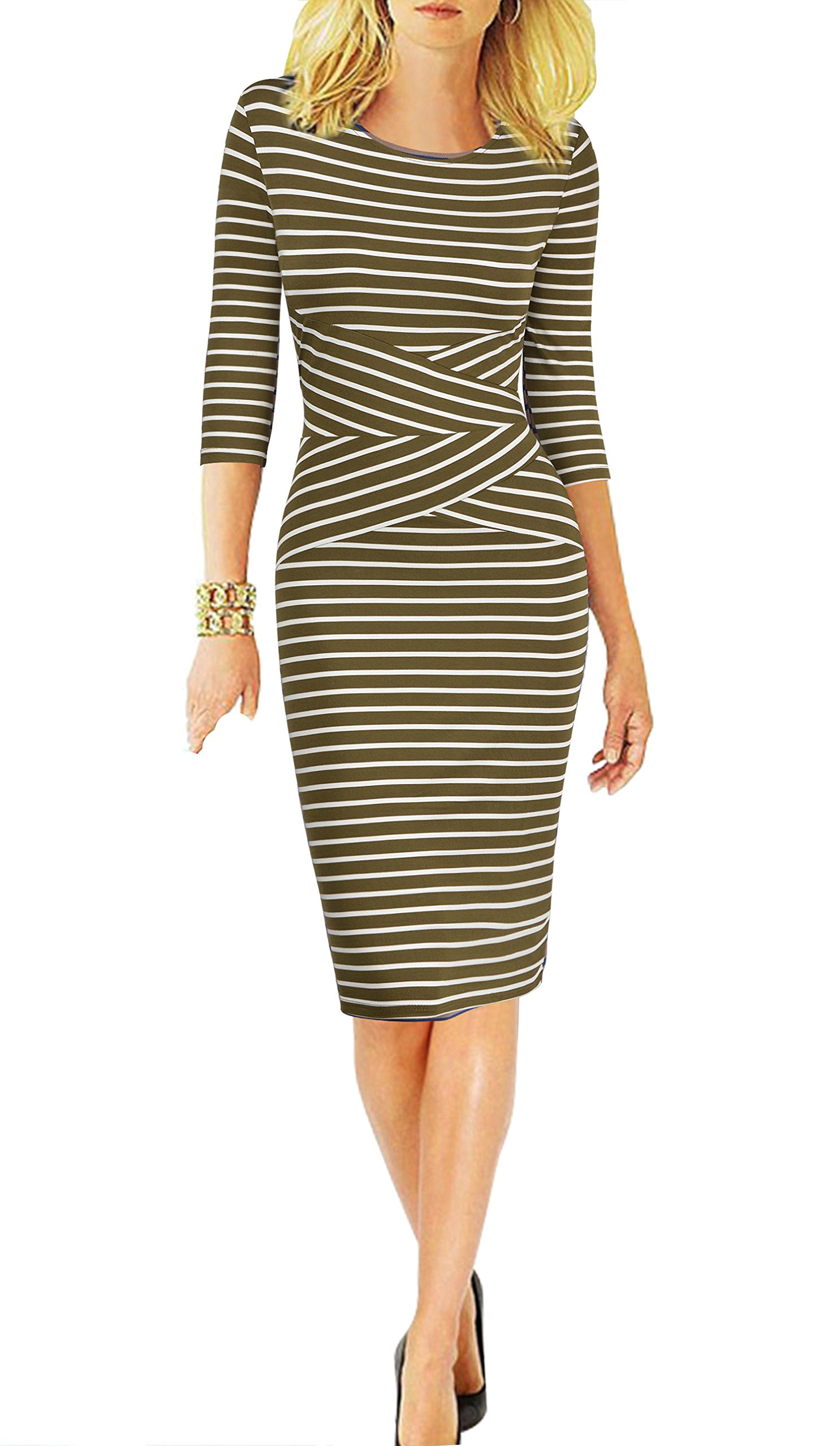 REPHYLLIS Women 3/4 Sleeve Striped Wear to Work Business Cocktail Pencil Dress (Small, Armygreen)