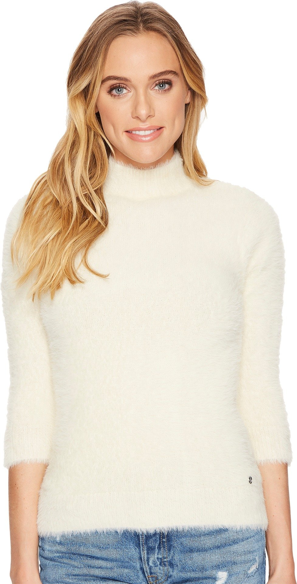 Volcom Junior's Bunney Riot Fuzzy Mock Neck Pullover Sweater, Star White, L