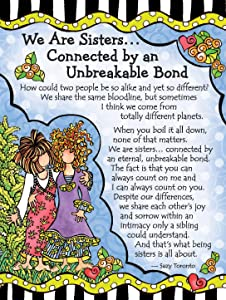 "Blue Mountain Arts Miniature Easel Print with Magnet ""We Are Sisters… Connected by an Unbreakable Bond"" 4.9 x 3.6 in., Perfect Christmas, Birthday, or ""I Love You"" Gift, by Suzy Toronto"