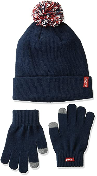 Levi's Kids' Big Tech Beanie and Glove Set, Dress Blues, O/S