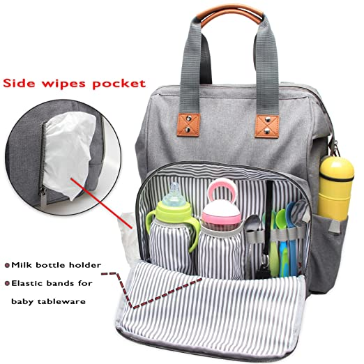 Amazon.com : Teamoy Diaper Bag Backpack, Travel Baby Changing Tote Bag with Stroller Straps, Changing Pad, Insulated Bottle Holder, Wide Open, ...