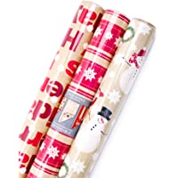 Hallmark Reversible Christmas Wrapping Paper Bundle (Pack of 3; 120 sq. ft. ttl.) Kraft and Red, Merry Holidays, Snowflakes, Dots, Snowmen