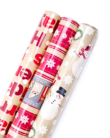 amazon com hallmark reversible christmas wrapping paper bundle
