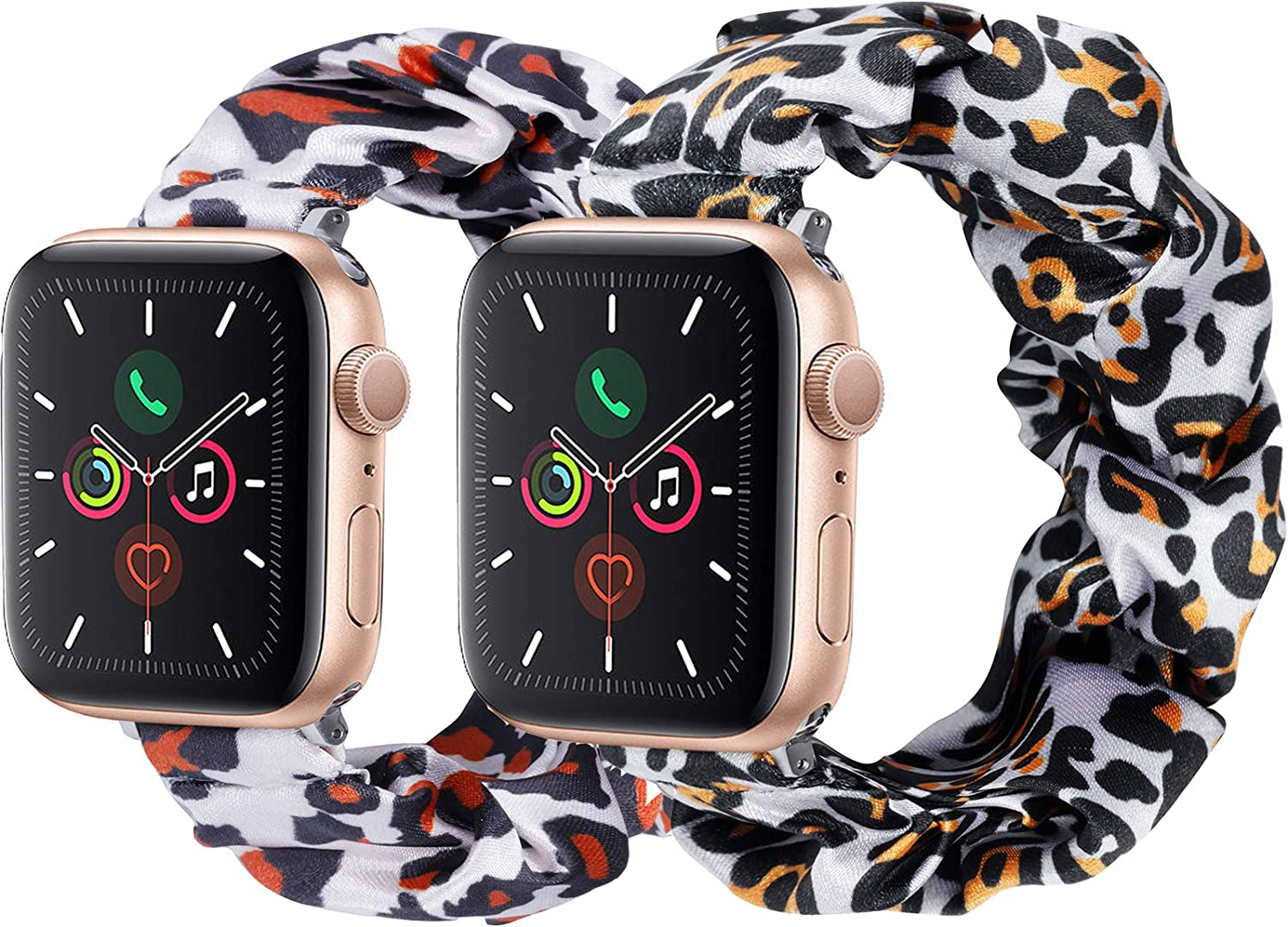 2 Pack Scrunchie Apple Watch Band for 38mm 40mm, Cute Apple Watch Bands for Women, Bracelet Iwatch Bands for Series 6 5 4 3 2 1(2 Pack-No.01+15, 42MM 44MM)
