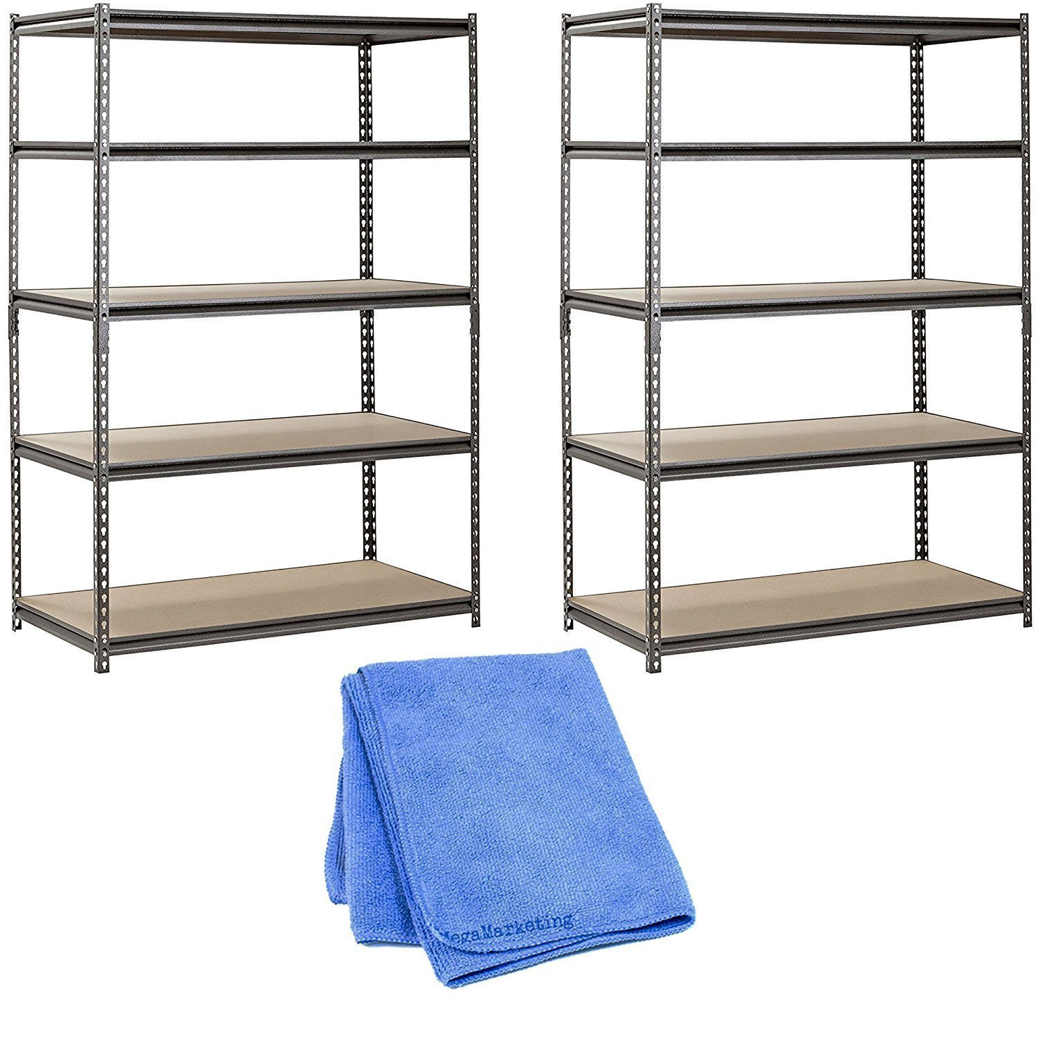 Muscle Rack UR482472PB5PAZ-SV Silver Vein Steel Storage Rack, 5 Adjustable Shelves, 4000 lb. Capacity, 72'' Height x 48'' Width x 24'' Depth (2-Pack) with Towel Cleaner
