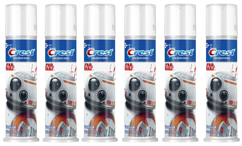 Crest Kid's Toothpaste, Disney's Star Wars, Blue Bubblegum Flavor, 4.2 Ounce (Pack of 6)
