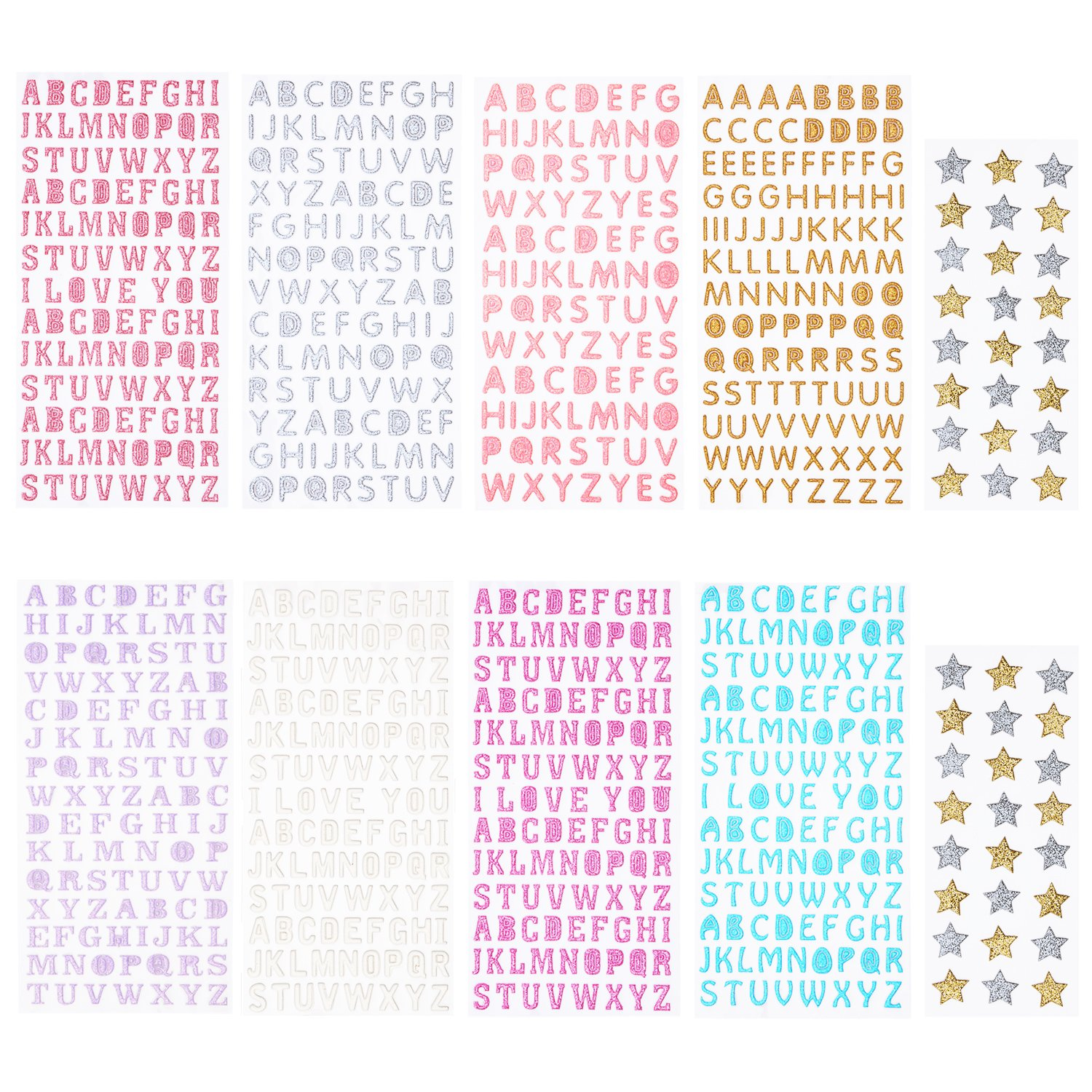 Sunmns Glitter Letter Gift Alphabet Sticker Self Adhesive Letters and Star Stickers, 10 Sheets SunmnDirect letter stickers 10