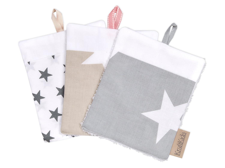 Waschtuch mit Liebe handgefertigt in der EU KraftKids Waschlappen gro/ße wei/ße Sterne auf Beige gro/ße wei/ße Sterne auf Grau kleine graue Sterne auf Weiss Waschhandschuh 16 cm breit und 19 cm lang