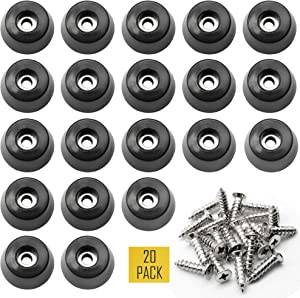 "1.25"" Large Hard Rubber Bumper Feet with Stainless Washer and Screws, Heavy Duty Rubber Feet for Furniture, 20 Pack"