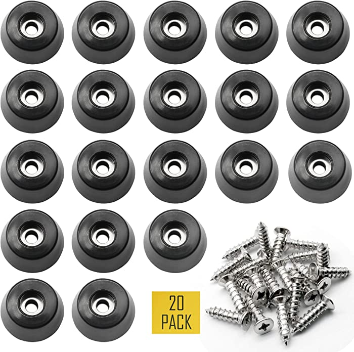 """1.25"""" Large Hard Rubber Bumper Feet with Stainless Washer and Screws, Heavy Duty Rubber Feet for Furniture, 20 Pack"""