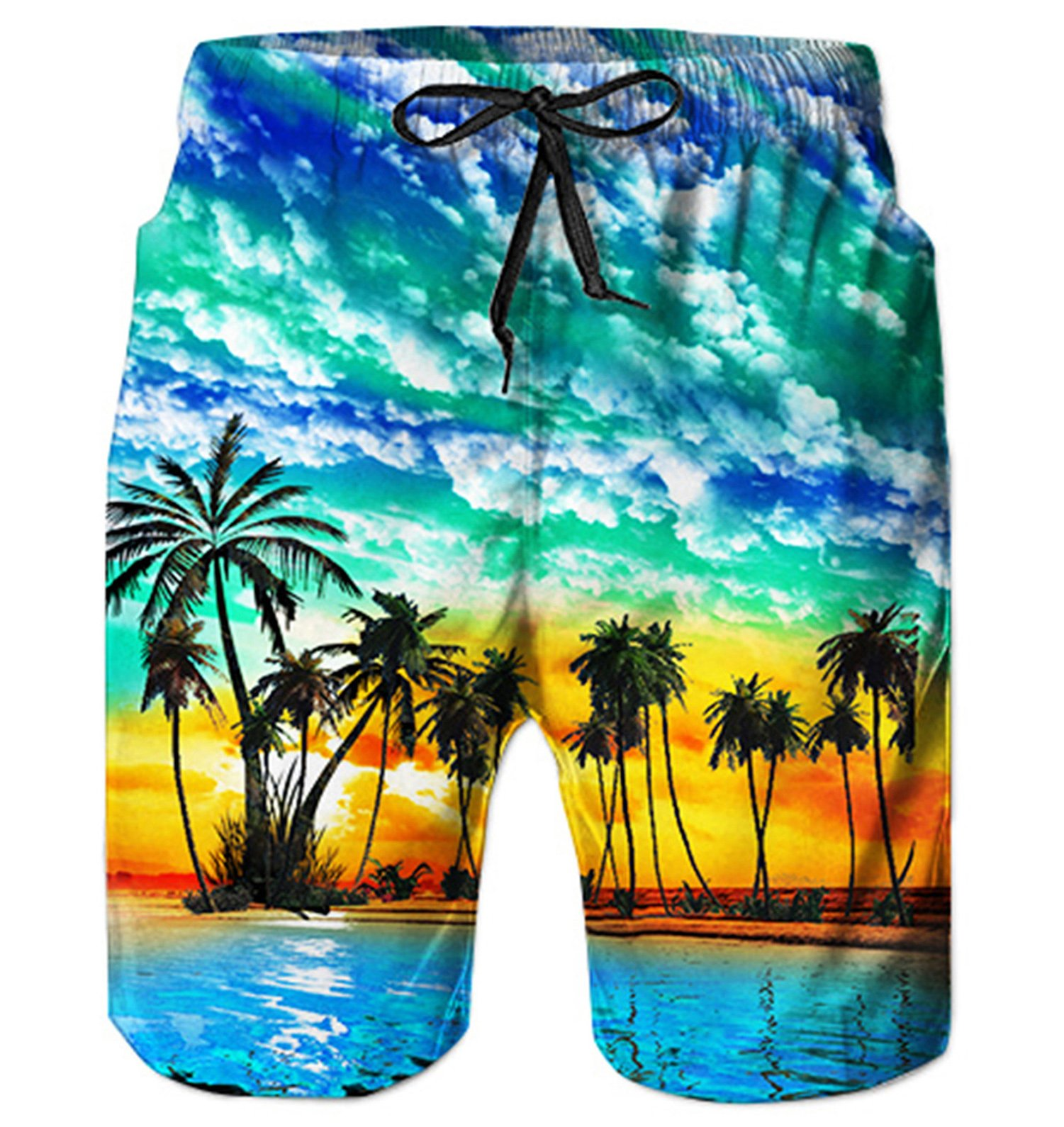 Alistyle Mens 3D Hawaiian Print Funny Lounge Wear Pants Summer Casual Vacation Jogger Surfing Shorts