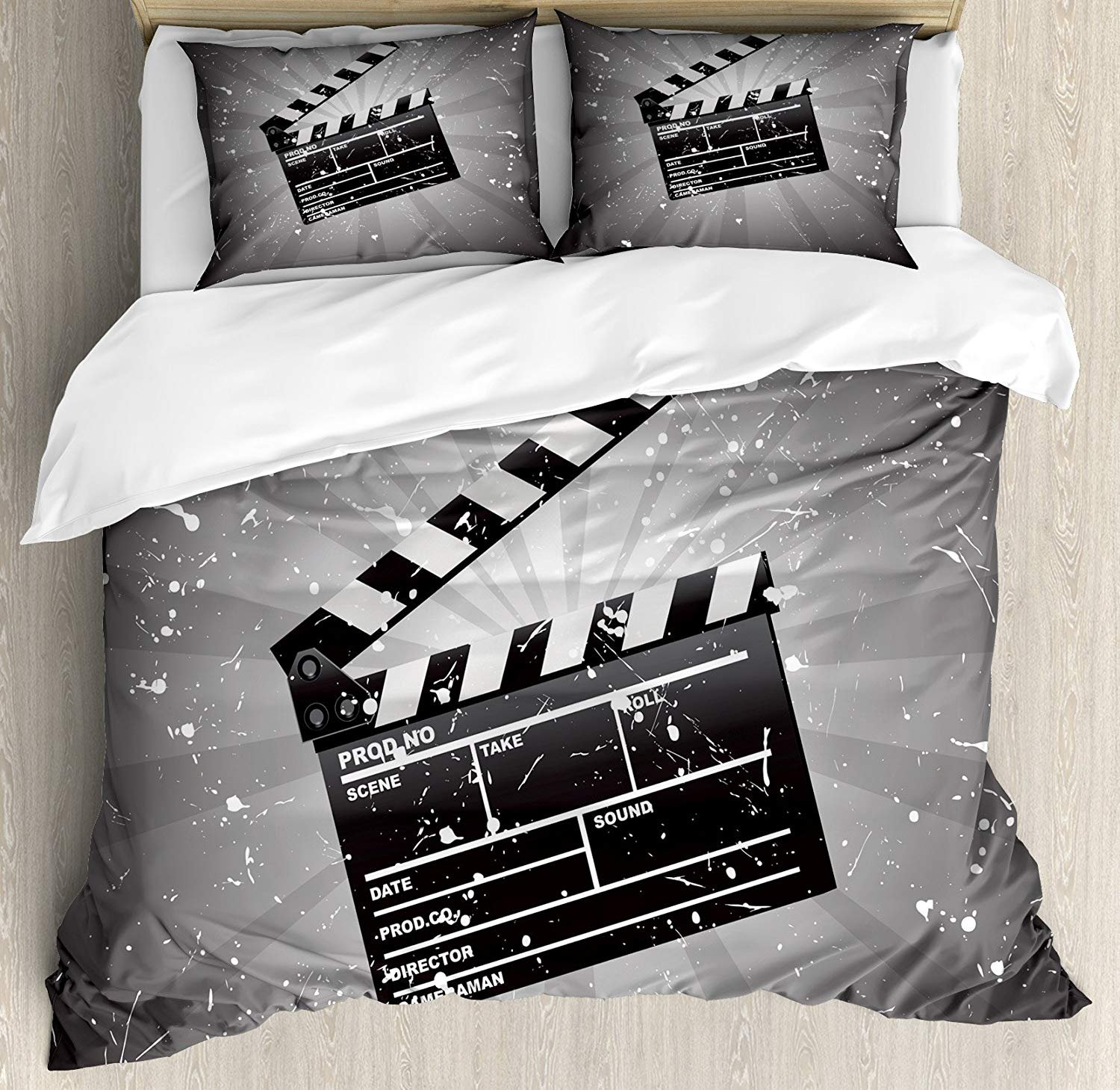 Movie Theater Twin Duvet Cover Sets 4 Piece Bedding Set Bedspread with 2 Pillow Sham, Flat Sheet for Adult/Kids/Teens, Clapper Board on Retro Backdrop with Grunge Effect Director Cut Scene