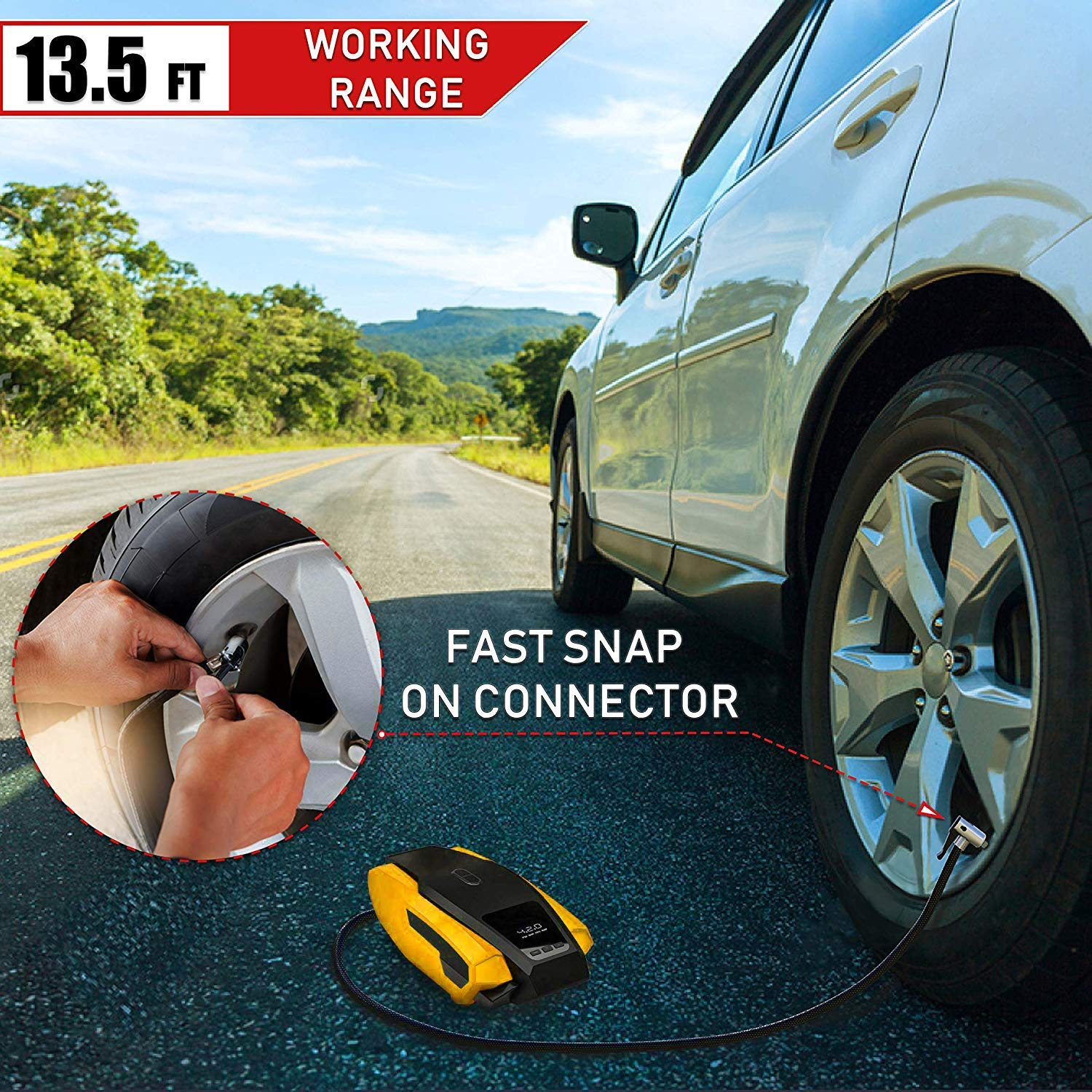 Favoto Car Auto Tyre Inflator Air Compressor Pump Portable with DIgital Pressure Gauge DC12V for Car SUV MPV or Ball Airbed Bike