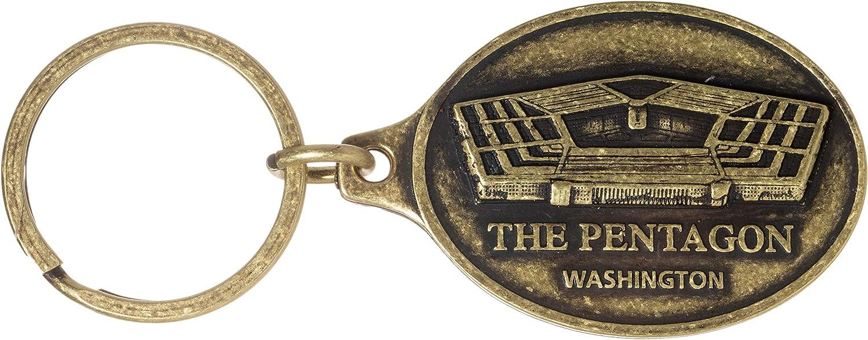 The Pentagon Washington Antique Brass Souvenir Key Chain