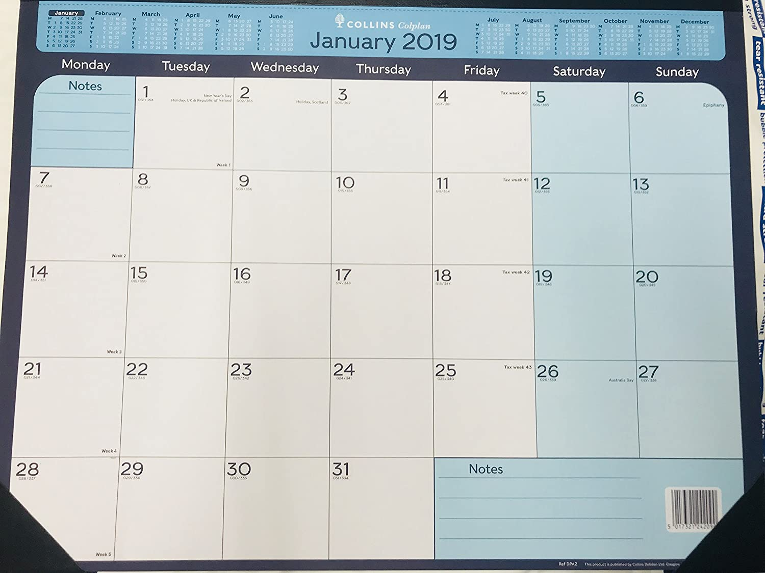Collins DPA2 A2 2019 Colplan Monthly Desk Pad