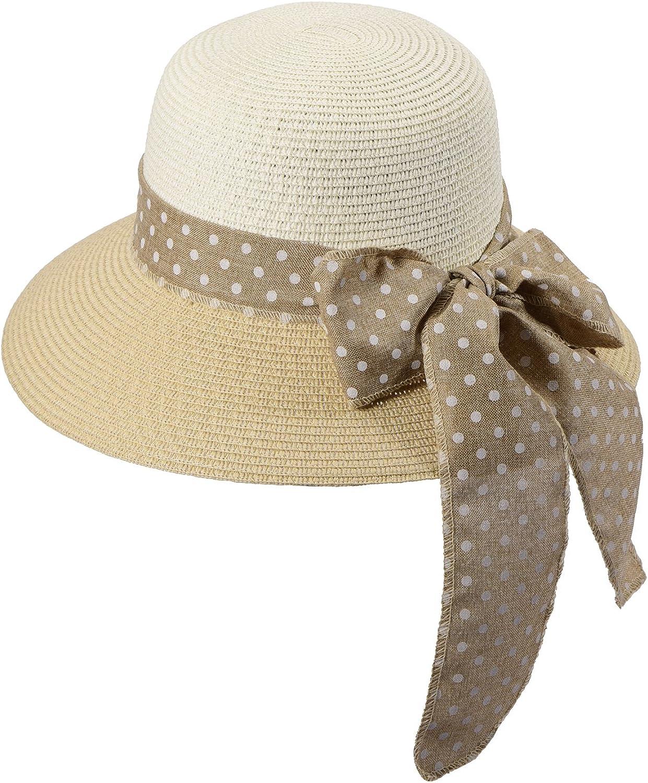 Miuno/® Damen Sonnenhut Partyhut Stroh Hut Schleife H51056