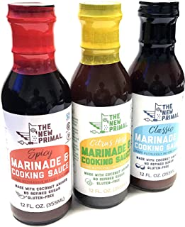 product image for The New Primal Spicy Marinade, Citrus Herb, Classic Marinade & Cooking Sauce, Certified Paleo, Certified Gluten-Free, Sugar-Free, 12oz, Whole30 Approved   Combo Pack of 3