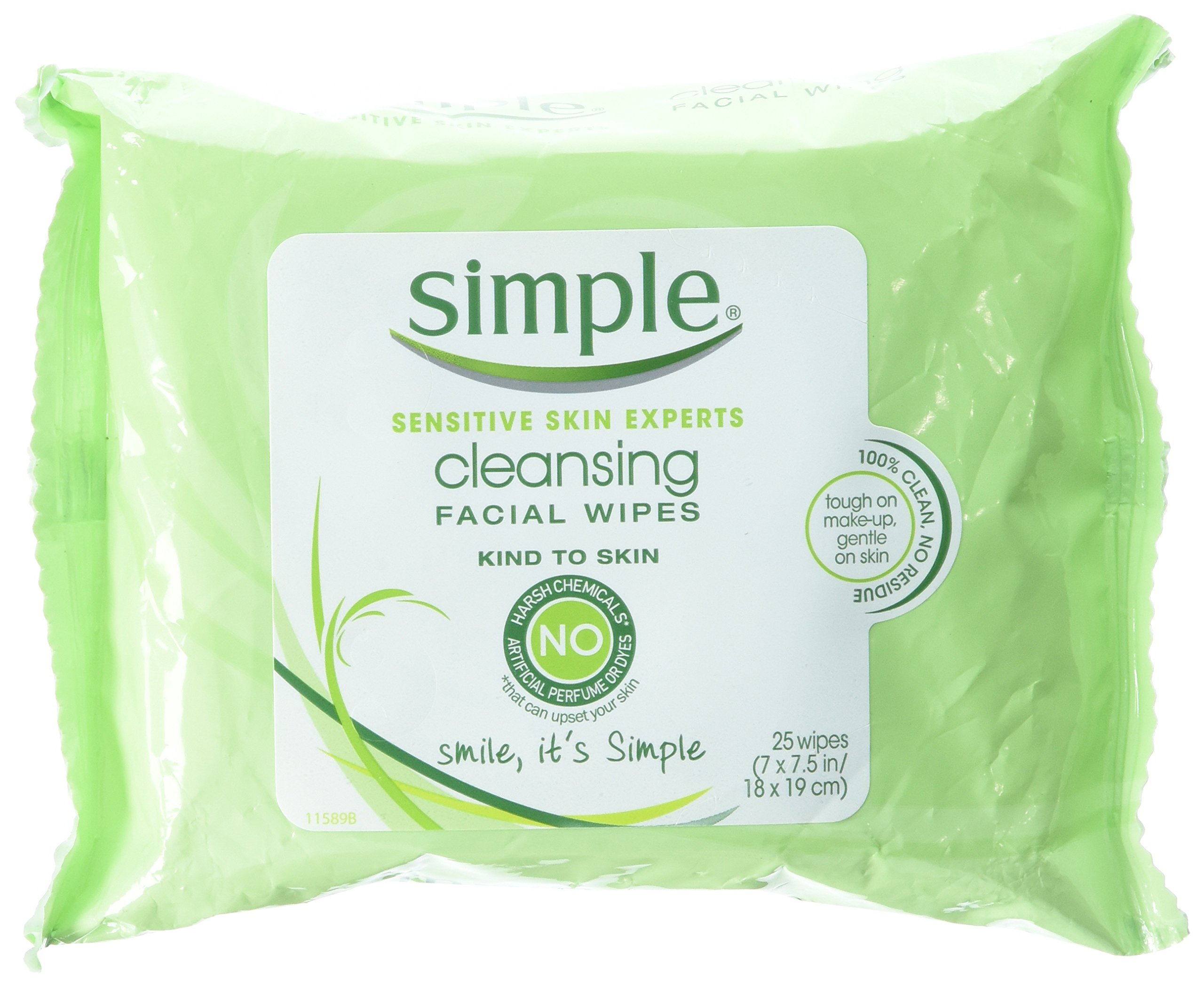 Simple Cleansing Facial Wipes 25 Count (3 Pack) by Simple