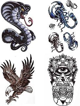 COKOHAPPY Grande Temporales Tatuaje 4 Diferente hoja Cobra ...