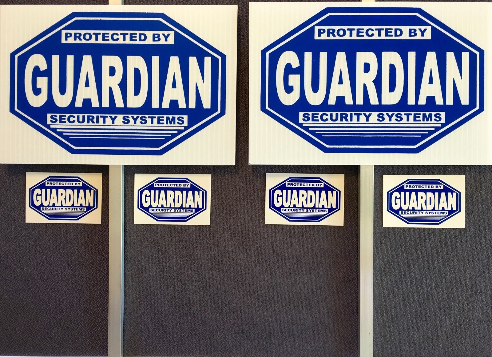 2 Guardian Security Signs + 2 Stakes + 4 Decals - SECURITY SIGN- #PS-412