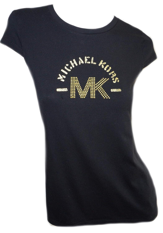 ec6000fda8e2 Michael Kors Womens Black Cap Sleeve Cotton T Shirt MK Gold Studded Logo at  Amazon Women's Clothing store: