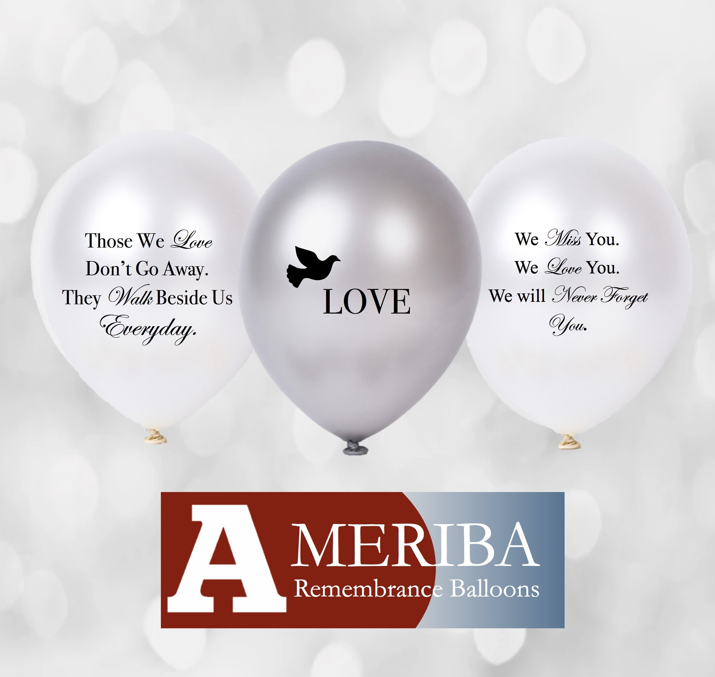 Biodegradable Remembrance Balloons: 30pc White & Silver Personalizable Funeral Balloons for Balloon Releases & Sympathy Gifts | Created/Sold by AMERIBA, a USA Company (Variety Pack, Black Writing) by AMERIBA