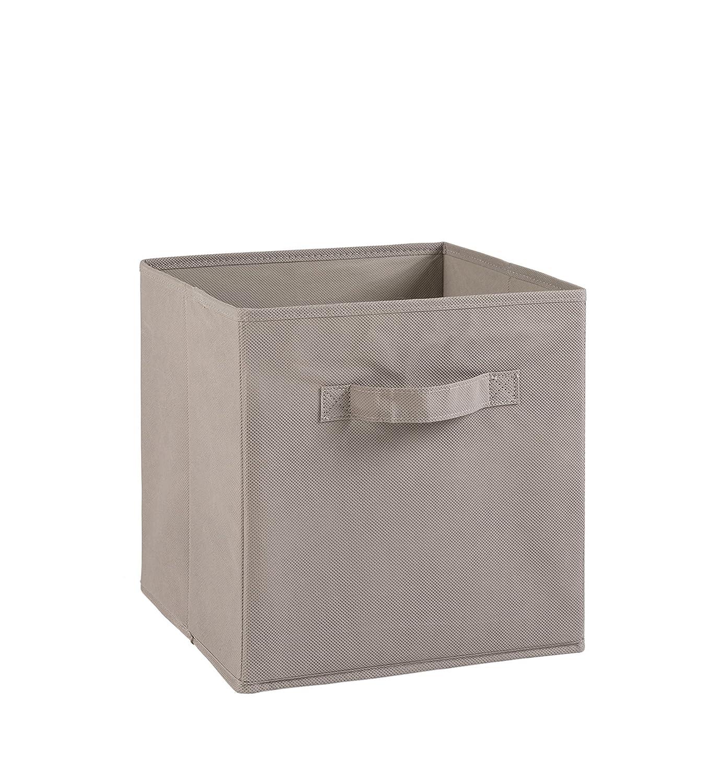 mDesign Juego de 4 cajas de almacenaje Ideales para estanter/ías cuadradas Cajas organizadoras plegables hechas de junco marino color bamb/ú Cestas de almacenaje con patr/ón trenzado
