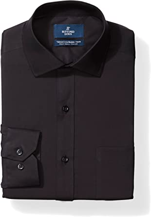 Marca Amazon - Buttoned Down Tailored-fit Stretch Poplin Non-Iron Dress Shirt Hombre