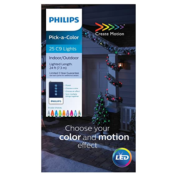 Philips 25ct Christmas LED Pick A Color Faceted C9 String Lights -  Multicolored - - Amazon.com - Philips 25ct Christmas LED Pick A Color Faceted C9 String Lights
