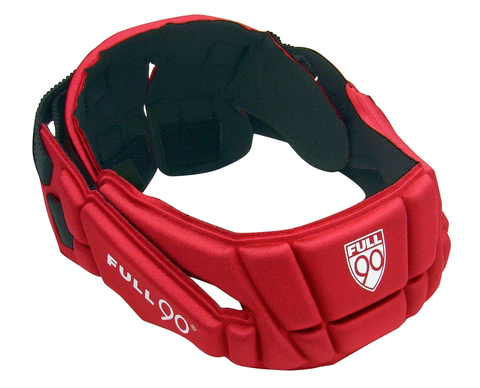 Full 90 Sports PREMIER Performance Soccer Headgear, Red, Small/Medium