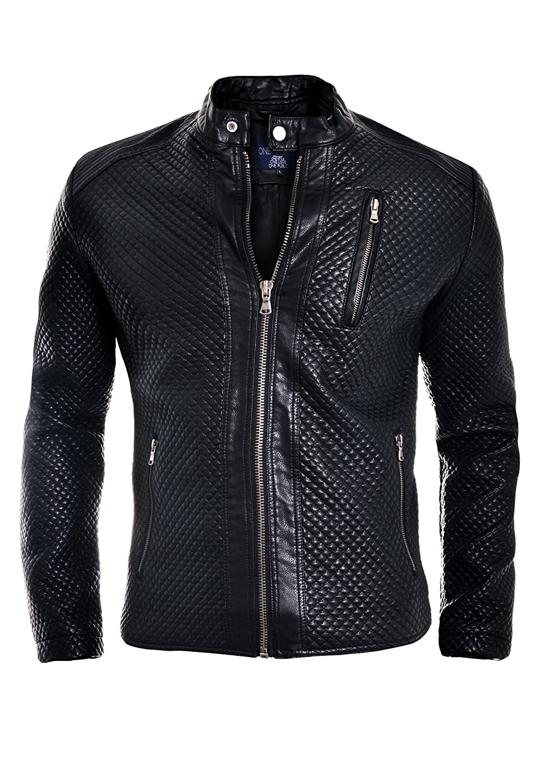D&R Fashion Men's Black Light Faux Leather Jacket with Quilted Pattern