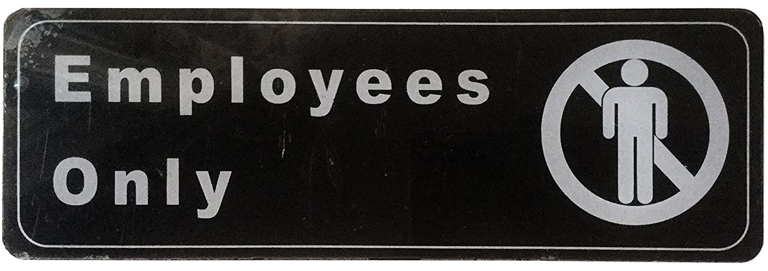 Employees Only Sign Information Door Sign Plate for Business Office Restaurant Cafe 3 x 9 Pack of 2