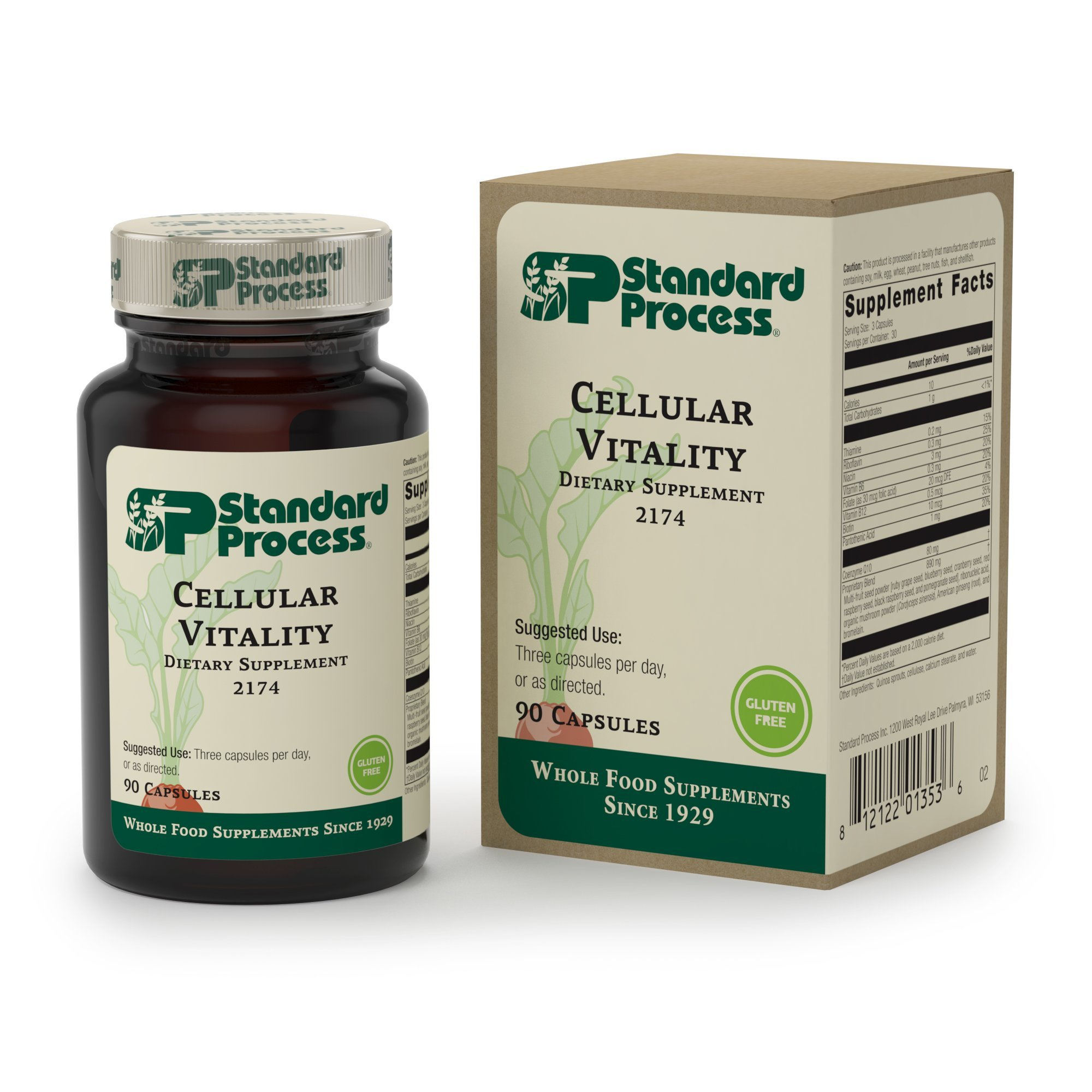 Standard Process - Cellular Vitality - Vitamin B1, B2, B6, Folate, B12, Biotin, CoQ10, Supports Healthy Cellular Processes and Provides Antioxidant Activity, Gluten Free and Vegetarian - 90 Capsules by Standard Process (Image #1)