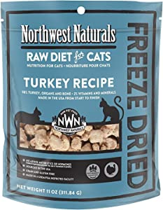 Northwest Naturals Freeze Dried Raw Cat Food Nibbles, 11 Ounces (Turkey)