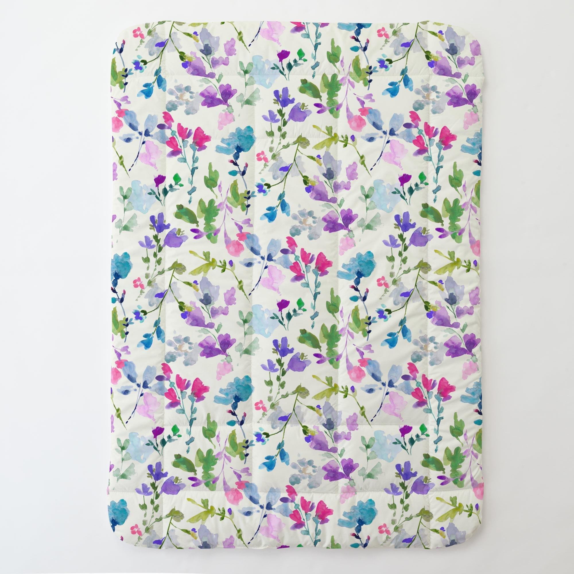 Carousel Designs Bright Wildflower Toddler Bed Comforter