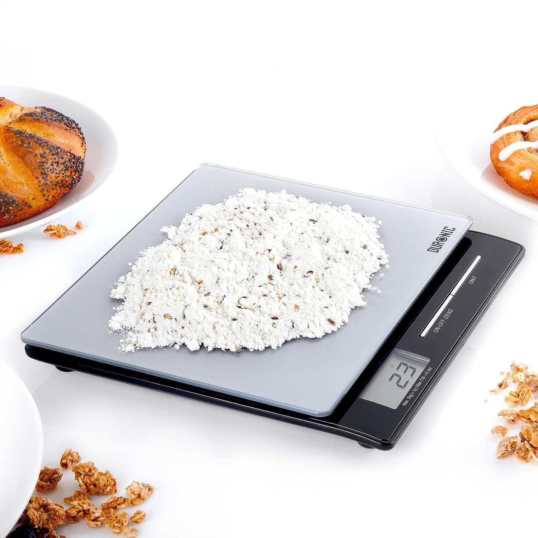 Duronic KS865 Báscula Cocina Digital 5 Kg de Cristal Balanza Cocina Peso Cristal