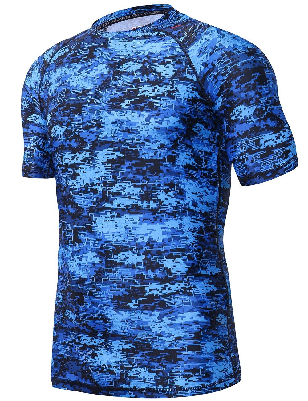 HUGE SPORTS Men's UV Sun Protection UPF 50+ Full Digital Print Rash Guard Short LBX CA-MRG006Cp-Sh