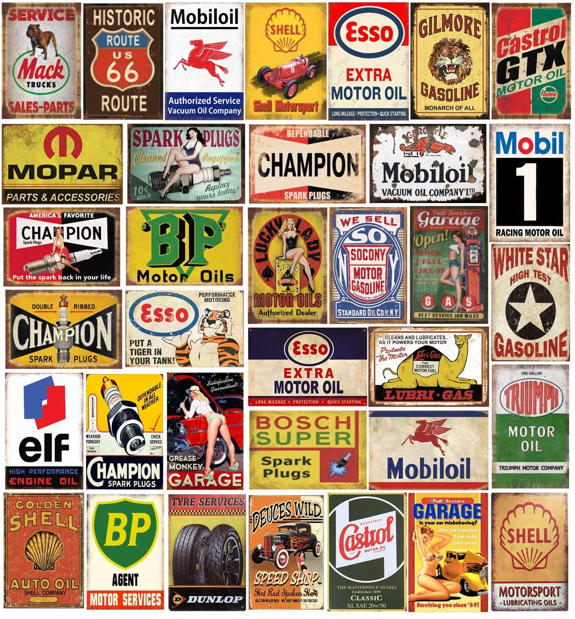 Tin Signs 35 Pieces Reproduced Vintage, Gas Oil Retro Advert Antique Metal Signs for Garage Man Cave Bar Kitchen, Nostalgic Car Decor.8x12 Inch
