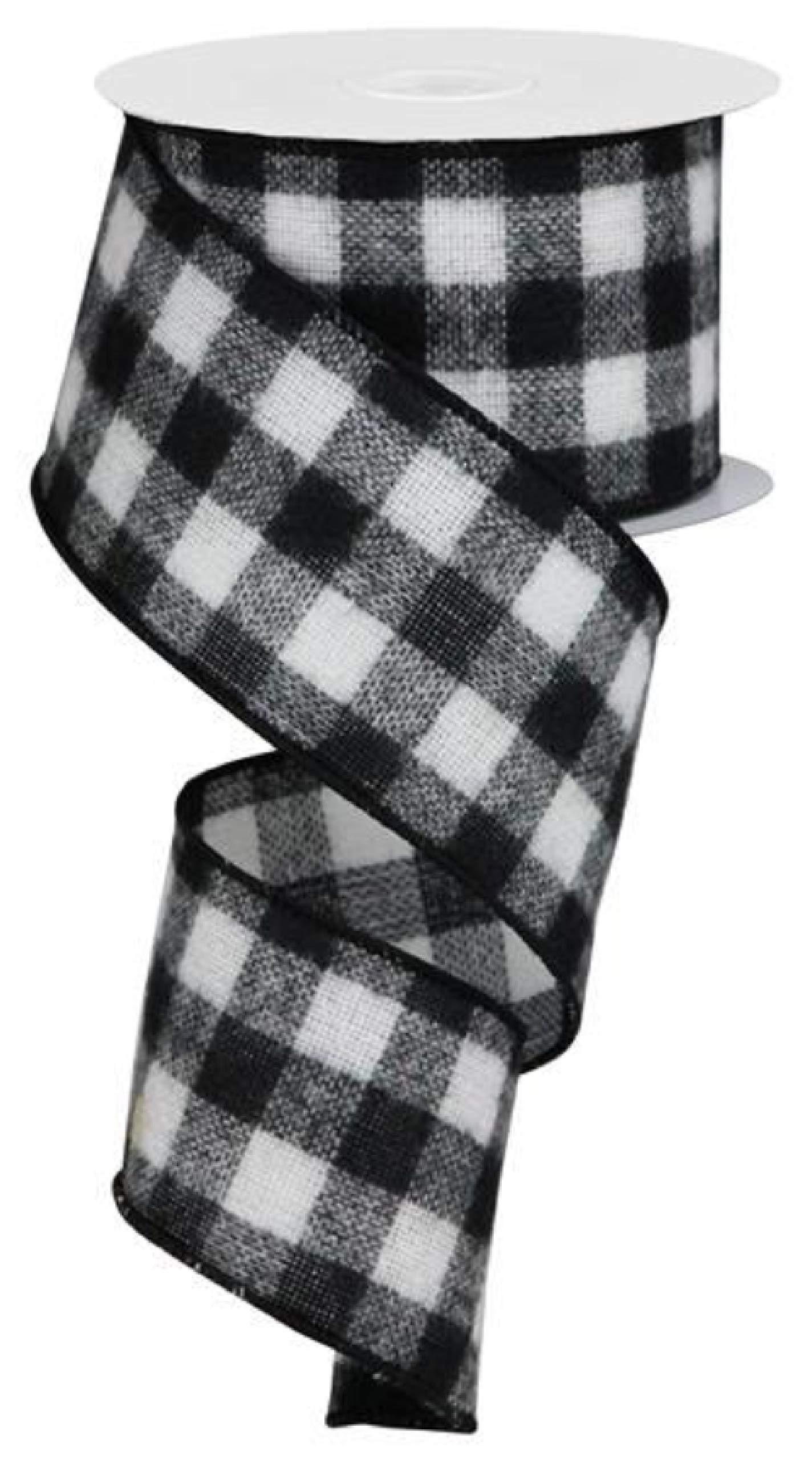 Flannel Check Plaid Wired Edge Ribbon, 10 Yards (Black, White, 2.5'') by Craig Bachman
