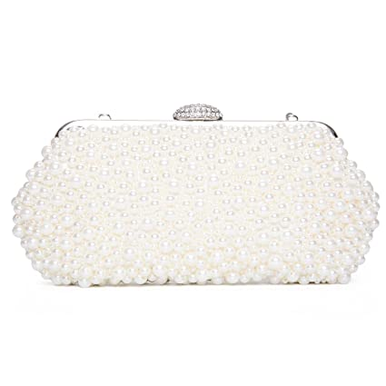 05d0ba4875d Buy Kisschic Women Faux Pearl Bead Rhinestone Evening Clutch Clutches Bag  Handbag Pearl Evening Bags (Beige) Online at Low Prices in India - Amazon.in